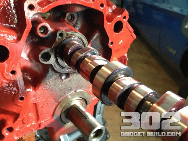 Showing initial insertion of the camshaft into the small block 302. E303 Camshaft by Ford Racing