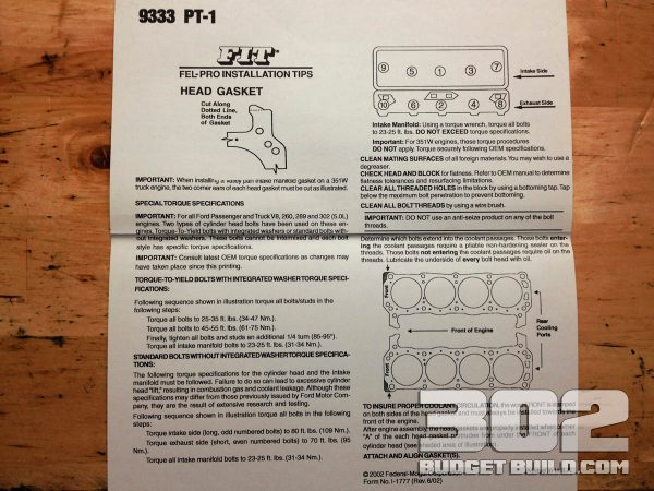 This is the back of the Felpro label on your head gaskets. READ THE DIRECTIONS