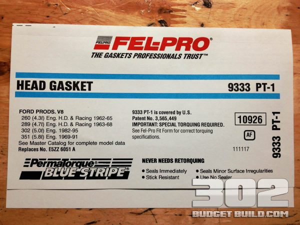 This is the label and part number for the 9333 PT1 head gaskets.