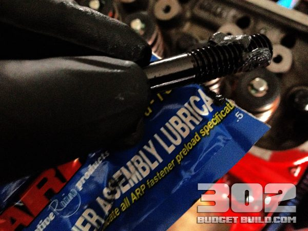Use the assembly thread lubricant on all threads for the head bolts.