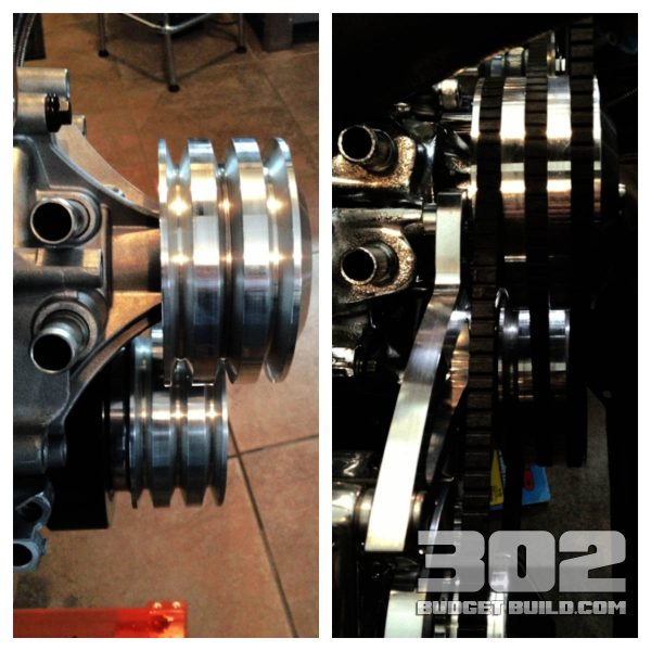 Note how the photo on the left's pulleys do not align properly. This indicates that the harmonic damper is fully installed. A .950 spacer will be required to make the pulleys line up. You will also need longer crank pulley bolts.