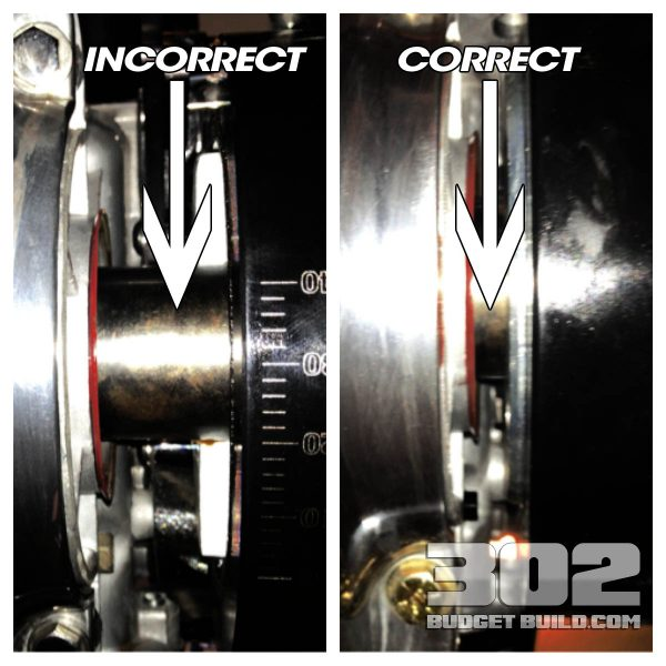 The photo on the left shows a balancer damper that is not installed fully onto the crankshaft. The photo on the right is correct.