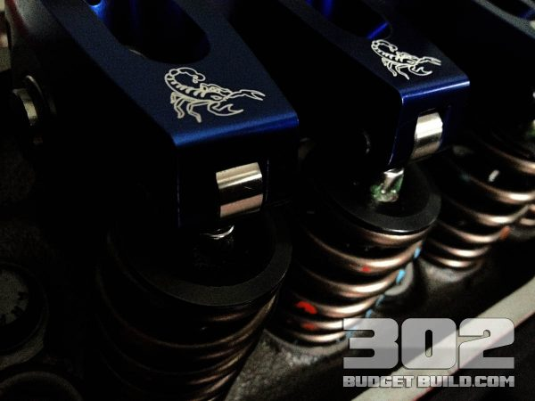 Scorpion 1.6 ratio roller rockers installed on crane cams beehive springs with Ford Racing roller lifters, and channels. Pushrods by comp cams heat treated chromoly style.